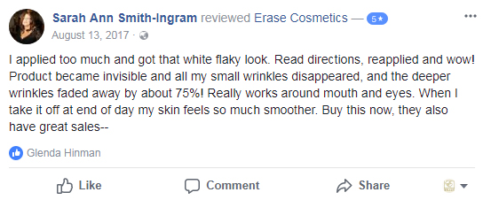 I applied too much and got that white flaky look. Read directions, reapplied and wow! Product became invisible and all my small wrinkles disappeared, and the deeper wrinkles faded away by about 75%! Really works around mouth and eyes. When I take it off at end of day my skin feels so much smoother. Buy this now, they also have great sales--