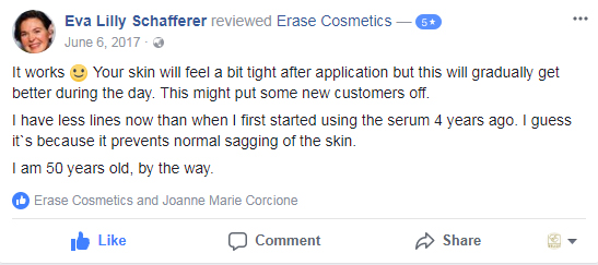 It works :) Your skin will feel a bit tight after application but this will gradually get better during the day. This might put some new customers off.  I have less lines now than when I first started using the serum 4 years ago. I guess it`s because it prevents normal sagging of the skin.  I am 50 years old, by the way.